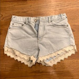 Free People Striped Lace Jean Shorts, Size 26